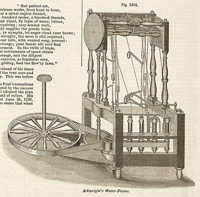 Arkwright's Water Frame Print by Art And Picture Collection/new York Public Library