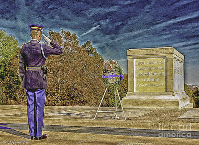 Arlington Cemetery Tomb Of The Unknowns Print by Bob and Nadine Johnston
