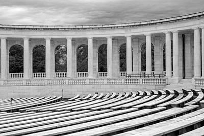 Washington Monument Photograph - Arlington Memorial Cemetery Amphitheater  Bw by Susan Candelario