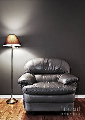 Armchair And Floor Lamp Print by Elena Elisseeva
