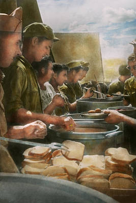 Rations Photograph - Army - Another Potato Please by Mike Savad