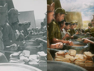 Bread Line Photograph - Army - Another Potato Please - Side By Side by Mike Savad