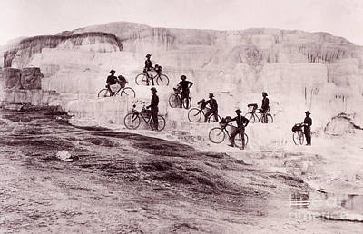 Army Bicyclists Mammoth Hot Springs Print by NPS Photo