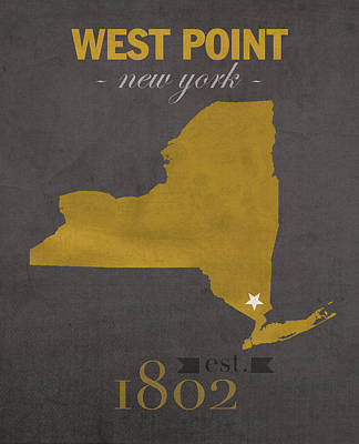 Knight Mixed Media - Army Black Knights West Point New York Usma College Town State Map Poster Series No 015 by Design Turnpike