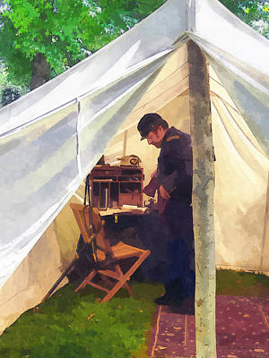 Army - Civil War Officer's Tent Print by Susan Savad