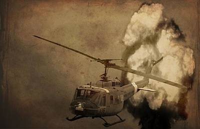 Helicopter Photograph - Army Helicopter Explosion by Dan Sproul