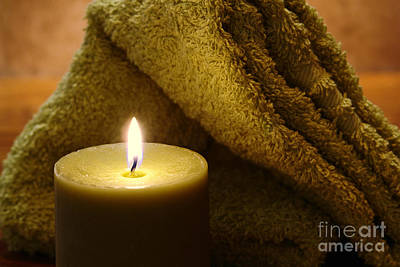 Votive Photograph - Aromatherapy Candle And Towel by Olivier Le Queinec