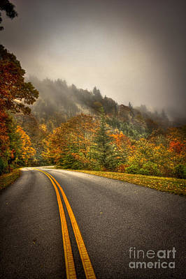 Around The Bend Clouds Along The Blue Ridge Parkway Print by Reid Callaway