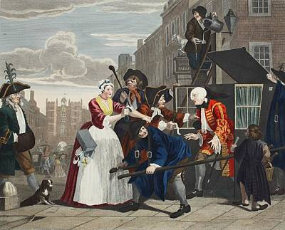 Moral Drawing - Arrested For Debt, Plate V From A Rakes by William Hogarth