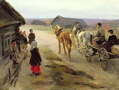 Horse And Cart Photograph - Arrival Of A School-mistress In The Country, C.1908-14 Oil On Canvas by Alexei Steipanovitch Stepanov