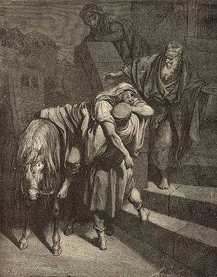 Arrival Of The Samaritan At The Inn Print by Antique Engravings
