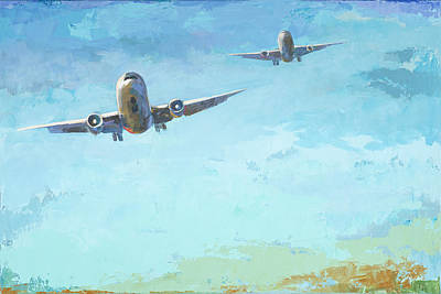 Airplane Painting - Arrivals #3 by David Palmer