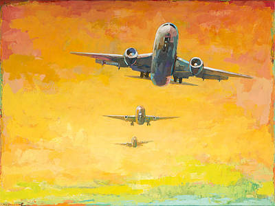 Airplane Painting - Arrivals #4 by David Palmer