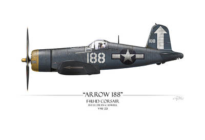 Tinder Digital Art - Arrow 188 F4u Corsair - White Background by Craig Tinder