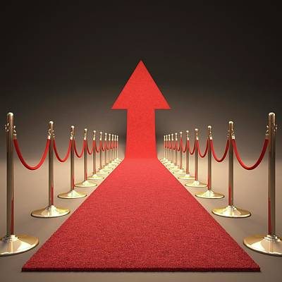 Arrow And Red Carpet Print by Ktsdesign