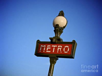 Metro Art Photograph - Art Deco Subway Entrance Sign. Paris by Bernard Jaubert