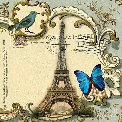Fantasy Realistic Still Life Mixed Media - Art Deco Swirls Butterfly Eiffel Tower Paris by Cranberry Sky