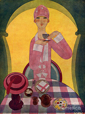 Woman Drawing - Art Deco Tea Drinking 1926 1920s Spain by The Advertising Archives