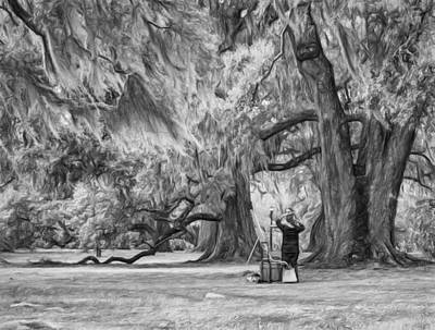 Bridge Photograph - Art Lesson In City Park New Orleans Bw by Steve Harrington