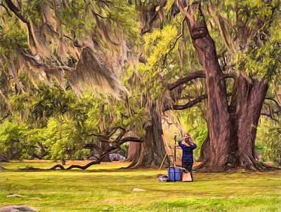 Art Lesson In City Park New Orleans  Print by Steve Harrington