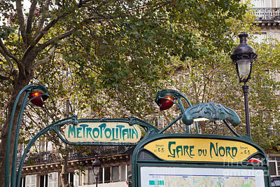 Paris Photograph - Art Nouveau Metropolitain Sign by Liz Leyden