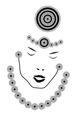 Jewels Drawing - Art Nouveau Portrait by Frank Tschakert