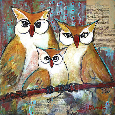 Colorful Owl Painting - Art Owl Family Portrait by Blenda Studio