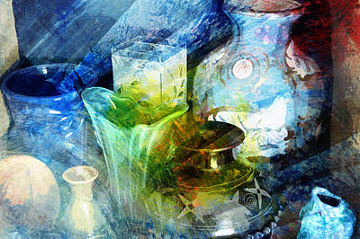 Impressionist Mixed Media - Art Pottery Still Life In Light And Color by John Fish