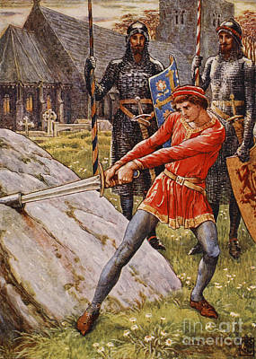 Knight Painting - Arthur Draws The Sword From The Stone by Walter Crane
