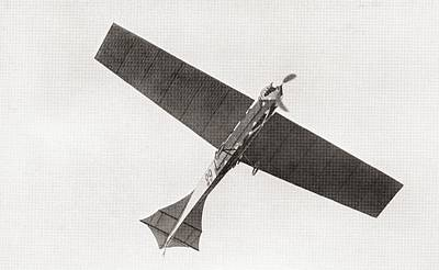 Flying Planes Photograph - Arthur Lathams Monoplane In The Air In 1909.  Arthur Charles Hubert Latham,  1883 –1912.  French by Bridgeman Images