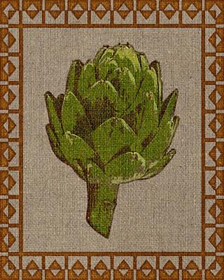 Artichoke Digital Art - Artichoke On Burlap by Flo Karp