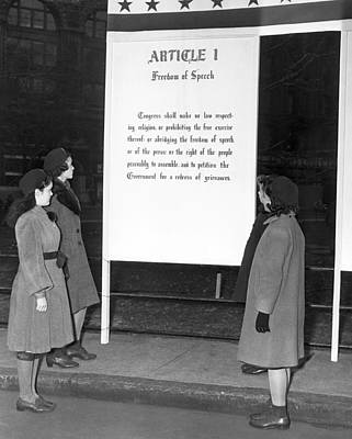 Article 1, Freedom Of Speech Print by Underwood Archives