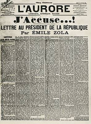 Article By Emile Zola Denouncing Print by Everett