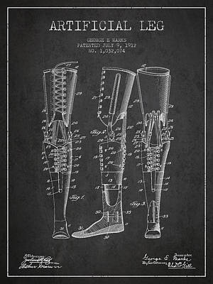 Artificial Leg Patent From 1912 - Dark Print by Aged Pixel