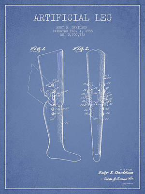 Artificial Leg Patent From 1955 - Light Blue Print by Aged Pixel