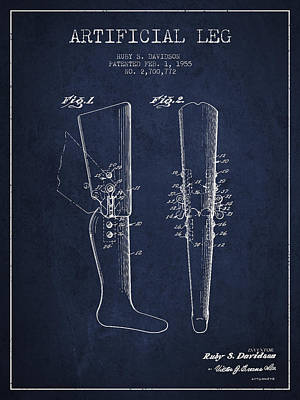 Artificial Leg Patent From 1955 - Navy Blue Print by Aged Pixel