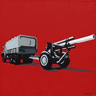 Iraq War Painting - Artillery Gun by Slade Roberts