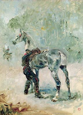Toulouse-lautrec Painting - Artilleryman Saddling His Horse, 1879  by Henri de Toulouse-Lautrec