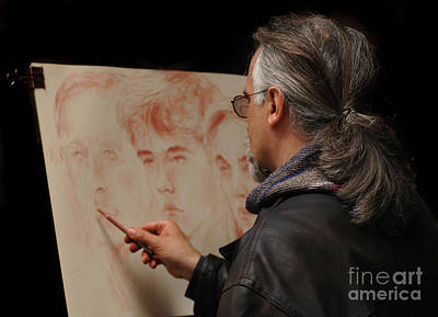 Artist At Work Florence Italy Print by Bob Christopher