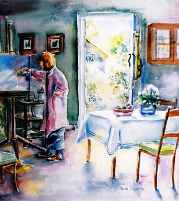 Kitchen Chair Painting - Artist At Work In Summer  by Trudi Doyle