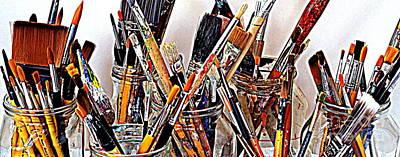 Studio Shot Photograph - Artist Paintbrushes 5 by Eamonn Hogan