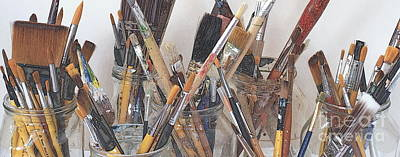 Studio Shot Photograph - Artist Paintbrushes 6 by Eamonn Hogan