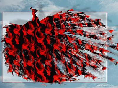 Artistic Red Peacock Print by Yvon van der Wijk