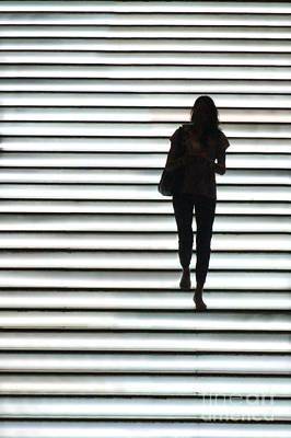 Artistic Silhouette Girl Walking Down Print by Lars Ruecker