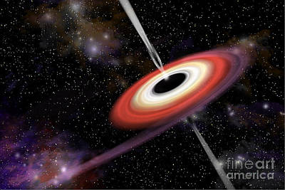 Artists Depiction Of A Black Hole Print by Marc Ward