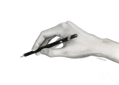 Self Drawing - Artist's Hand by Sarah Batalka