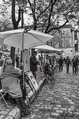 Artists In Montmartre Print by Georgia Fowler