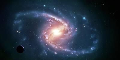 Spiral Photograph - Artwork Of A Barred Spiral Galaxy by Mark Garlick