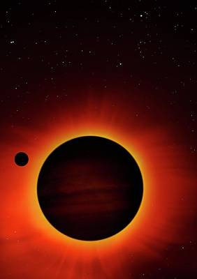 Artwork Of Exoplanet Eclipsing Its Star Print by Mark Garlick