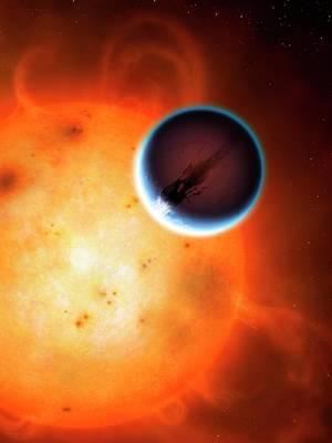 Extrasolar Planet Photograph - Artwork Of Planet Hd189733b by Mark Garlick